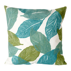 """Trans-Ocean - Mystic Leaf Aqua Pillow - 20"""" SQ - The highly detailed painterly effect is achieved by Liora Mannes patented Lamontage process which combines hand crafted art with cutting edge technology.These pillows are made with 100% polyester microfiber for an extra soft hand, and a 100% Polyester Insert.Liora Manne's pillows are suitable for Indoors or Outdoors, are antimicrobial, have a removable cover with a zipper closure for easy-care, and are handwashable."""