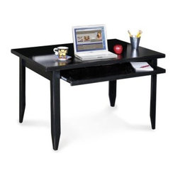 kathy ireland Home by Martin Tribeca Loft Black Laptop Computer Desk - With its casually elegant midnight smoke finish the Tribeca Table Desk offers clean modernity to your home office. The edges of this table desk are hand-rubbed for a slightly distressed look. A keyboard tray runs the full width of the table and slides out for ergonomic comfort.Delivery Notice: Price includes delivery to curbside. You may arrange for special service options such as set-up, debris removal or inside delivery. These services typically involve additional charges payable directly to the freight carrier at time of delivery. Special service arrangements can be made directly with freight carrier when they call you for delivery appointment.