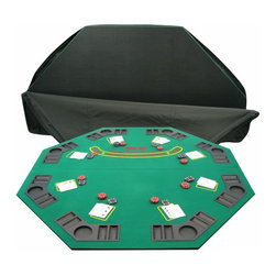 Trademark Poker - 2-Fold Solid Wood Poker & Blackjack Single Si - Includes Black vinyl carrying case. Chips and cards not included. 48 in. x 48 in. . 2 Fold wooden table. Green Felt. Blackjack insurance screen printed right on the table. 49 in. L x 25 in. W x 2 in. HThis octagon shaped folding Blackjack table is perfect just about any table. It is great for easy storage and carrying as it comes with a 2 strap Black vinyl zipper case. The table features built in cup holders and chip racks for each of the 8-Players that it seats. This table is ideal for a home or away Blackjack game.