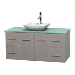 Wyndham Collection - 48 in. Single Bathroom Vanity in Gray Oak, Green Glass Countertop, Avalon White - Simplicity and elegance combine in the perfect lines of the Centra vanity by the Wyndham Collection . If cutting-edge contemporary design is your style then the Centra vanity is for you - modern, chic and built to last a lifetime. Available with green glass, pure white man-made stone, ivory marble or white carrera marble counters, with stunning vessel or undermount sink(s) and matching mirror(s). Featuring soft close door hinges, drawer glides, and meticulously finished with brushed chrome hardware. The attention to detail on this beautiful vanity is second to none.