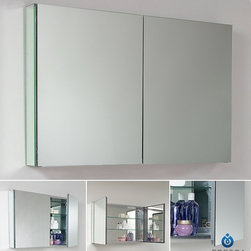 "Fresca - Fresca 40"" Wide Bathroom Medicine Cabinet w/ Mirrors - With plenty of mirrored surfaces, the FMC8010 Fresca 40-inch Bathroom Medicine Cabinet will make a stunning statement in your home. It features two doors with mirrors on both sides so you can have it open to access your makeup, while also keeping an eye on your appearance. The mirrored interior of this Fresca medicine cabinet reflects your toiletries, which sit atop the two tempered-glass shelves. Measuring 39.5""W x 26""H x 5""D, this bathroom medicine cabinet with mirrors everywhere is sure to please."