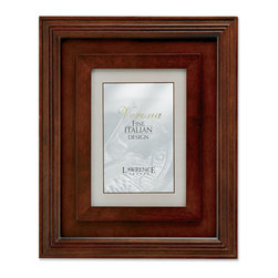 """Lawrence Frames - Dimensional Wide Walnut Wood 5x7 Picture Frame - Wide multi dimensional dark walnut wood frame. The molding of this frame is 2.5"""" wide making it quite impressive. High quality black painted masonite backing including an easel for vertical or horizontal table top display and hangers for wall mounting. Individually boxed."""