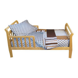 Trend Lab - Trend Lab Toddler Bedding, Max - Let your toddler's bedding grow with him. No longer a baby, he's ready for the refined look of this cotton bedding set. Polka dots and stripes in cool blues and browns give this set a fun, yet upscale feel for your child's bedroom. This set includes everything you need for your toddler's bed — a quilt, fitted sheet, top sheet, and pillowcase.