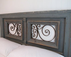 Original headboard designed from antique architectural elements - Custom extended queen headboard, made from antique architectural pieces, overpainted in gray