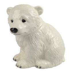 WL - 9.5 Inch Cute White Polar Bear Cub Painted Ceramic Cookie Jar - This gorgeous 9.5 Inch Cute White Polar Bear Cub Painted Ceramic Cookie Jar has the finest details and highest quality you will find anywhere! 9.5 Inch Cute White Polar Bear Cub Painted Ceramic Cookie Jar is truly remarkable.