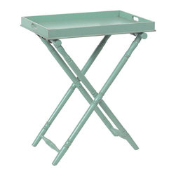"Kathy Kuo Home - Devon Butler Beach Style Folding Tray Table Turquoise 36""H - Everyone could use a butler like this. Stylish yet practical, this butler folding tray table stows neatly away when not in use, but pops open in a second to hold cocktails and appetizers at a moment's notice. It's perfectly at home in an entryway, out on the porch, in the dining room or wherever you need a little extra serving space."