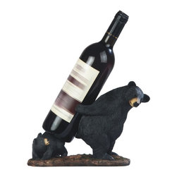 GSC - 10 Inch Black Bear with Cub Wine Holder - This gorgeous 10 Inch Black Bear with Cub Wine Holder has the finest details and highest quality you will find anywhere! 10 Inch Black Bear with Cub Wine Holder is truly remarkable.