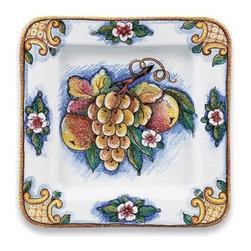Ceramic - Deruta Bianco Fresco Fruit Square Platter - Deruta Bianco Fresco Fruit Square Platter