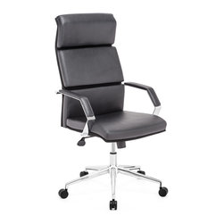 ZUO MODERN - Lider Pro Office Chair Black - This chair has a leatherette wrapped seat and back cushions with chrome solid steel arms with leatherette pads. There is a height and tilt adjustment with a chrome steel rolling base.