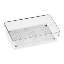Interdesign - Acrylic 6-Inch x 9-Inch Drawer Organizer - Acrylic drawer organizers provide a versatile modular system so you can create customize storage in any drawer. Sturdy clean plastic organizers have non-skid feet with chrome accents for a clean, stylish look.