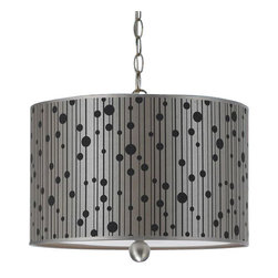 Candice Olson - Candice Olson Drizzle Transitional Pendant Light X-H3-1448 - From the Drizzle Collection, this AF Lighting pendant light starts with a classic drum shape. The diffuser is adorned with black dot accents in varied sizes, set on linear detailing against a shimmering gray backdrop. The matching Nickel finish compliments the design of this transitional pendant light.
