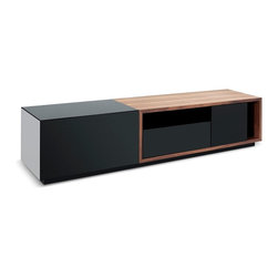 JNM Furniture - TV047 Modern Tv Stand in Black High Gloss and Walnut Finish - An addition to our modern tv bases. great design and quality crafted with soft closing tracks, and durable wood veneers for durability. Available  in a black high gloss finish, with a walnut veneer