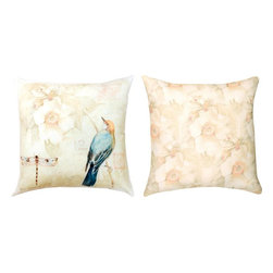 """Manual - Pair of """"Nature's Sketchbook"""" Green 18 Inch Indoor / Outdoor Throw Pillows - This pair of 18 inch by 18 inch woven throw pillows adds a wonderful accent to your home or patio. The pillows have (No Suggestions) weatherproof exteriors, that resist both moisture and fading. The fronts of the pillows feature a print of a bird in a tree and a dragonfly, and the backs feature a flowering tree print. They have 100% polyester stuffing. These pillows are crafted with pride in the Blue Ridge Mountains of North Carolina, and add a quality accent to your home. They make great gifts for bird or dragonfly lovers."""