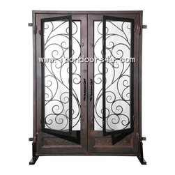 Elegant iron front door---DSD-004 - [Main Material]	Wrought iron and glass