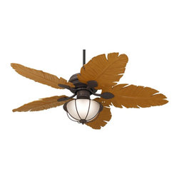 "Casa Vieja - Asian 52"" Casa Vieja® Tropical Leaf Ceiling Fan - Why let your indoor spaces get all the attention? UL rated for wet locations this tropical ceiling fan is ideal for dressing up outdoor porch or patio dining areas. It comes in a rust finish with ABS tropical leaf blades for that relaxed tropical feel. Features a 172 x 17 3-speed motor. Pull-chain operation. Comes with one standard 6"" downrod. With independent fan light operation. Light kit in rust with frosted glass uses two 13 watt CFL bulbs (included). From the Casa Vieja® ceiling fan collection. The light kit cannot be dimmed with add on control if the CFL bulbs used.  Rust finish.  Honey finish tropical leaf blades.  UL rated for wet locations.  Light kit 9 1/2"" long and 11 1/2"" wide.  Light uses two 13 watt CFL bulbs (included).   The light kit cannot be dimmed with add on control if the CFL bulbs used.  13 degree blade pitch.  52"" blade span.  Fan height 18"" ceiling to blade (with 6 "" downrod).  Fan height 26.1"" ceiling to bottom of light kit (with 6"" downrod).  6"" downrod included.  Canopy 5.2"" wide and 2.23' height."