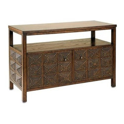 """Currey and Company - Tramp Art Console by Currey and Company - Inspired by wandering artisans in the 1860's, Tramp Art, also known as Folk Art was further developed by Currey and Company. The popular """"chip carving"""" was a common method of decorating various wood pieces. The Tramp Art TV Console is an example of a geometric pattern applied to a wood console. This piece has a blackened finish and will be a handsome conversational piece for your media equipment. (CR) 45"""" wide x 20"""" deep x 29"""" high"""