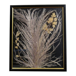 "Light Breeze, Oshibana Art - Oshibana (pressed plants) artwork in a 14"" x 17"" black frame."