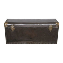 Refurbished Metal Auto Trunk Storage Box - Very rare antique salvaged and refurbished steel automobile trunk from the early 1900's. These heavy-duty trunks were strapped onto the back of early automobiles and used for storage, much as the standard car trunk is today. Sanded, refinished distressed brown texture with brass corner accents. Original wood base and contoured back.