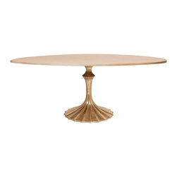 Kathy Kuo Home - Gold Fluted Base Oak Hollywood Regency Oval Dining Table - While this table packs enough sophistication and glamor to very easily work into a Hollywood Regency look, there are other angles this noteworthy piece could also embrace.  We can see it in a Parisian Art Nouveau apartment or even an eclectic/exotic Art Deco space.  However you use it, style and imagination take flight.