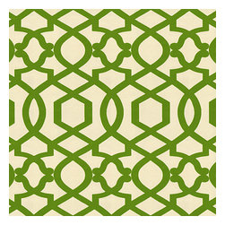 Green Velvet Flocked Trellis Fabric - Kelly green velvet flocked trellis in on cream cotton that adds subtle texture & warmth to your room.Recover your chair. Upholster a wall. Create a framed piece of art. Sew your own home accent. Whatever your decorating project, Loom's gorgeous, designer fabrics by the yard are up to the challenge!