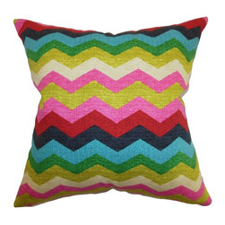 """The Pillow Collection - Aiome Zigzag Pillow Dessert 20"""" x 20"""" - Add a playful twist to your interiors with this bright and splashy zigzag throw pillow. This cherry accent pillow comes with a gorgeous color palette of lime green, kelly green, pink, white, red, turquoise and blue. This decor pillow provides a fresh and vibrant accent to your home. The eclectic pattern works well with other patterns and colors. This 20"""" pillow is made from 100% high-quality cotton fabric. Hidden zipper closure for easy cover removal.  Knife edge finish on all four sides.  Reversible pillow with the same fabric on the back side.  Spot cleaning suggested."""