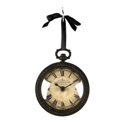 Kathy Kuo Home - Pocket Watch Style Vintage French Rustic Ribbon Round Wall Clock - Evoke a sense of the old world with this incredibly eye-catching pocket watch style wall clock.  Made of antiqued iron with a rusty finish, this clock flaunts ornate iron detailing on the back, making it a great hanging clock on the wall or off. The glass-enclosed face of this clock features Roman numerals, an aged look and appropriately-styled clock hands, adding to the overall design.  Accompanied by a black ribbon for hanging, this battery-operated clock will keep today's time in the rustic or French-inspired interior.