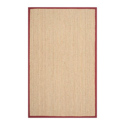 Safavieh - Martino Natural Fiber Rug, Natural / Red 9' X 12' - Construction Method: Power Loomed. Country of Origin: China. Care Instructions: Vacuum Regularly To Prevent Dust And Crumbs From Settling Into The Roots Of The Fibers. Avoid Direct And Continuous Exposure To Sunlight. Use Rug Protectors Under The Legs Of Heavy Furniture To Avoid Flattening Piles. Do Not Pull Loose Ends; Clip Them With Scissors To Remove. Turn Carpet Occasionally To Equalize Wear. Remove Spills Immediately. Hand-woven with natural fibers, this casual area rug is innately soft and durable. This densely woven rug will add a warm accent and feel to any home. The natural latex backing adds durability and helps hold the rug in place.