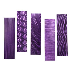 """Jon Allen - 5 Easy Pieces Purple - Modern Home Metal Wall Decor by Jon Allen - Stunning metal sculpture handmade with precision and detail in the USA! Sculpted entirely of high quality aircraft grade aluminum, entirely rust-proof.  Signed and dated by the artist Jon Allen, includes Certificate of Authenticity. Artwork arrives ready to display with pre-installed brackets allowing for horizontal, vertically, or any other angle mounting you desire.  Overall size: Five 6"""" x 24"""" x 2"""" pieces."""