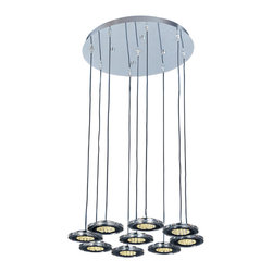 ET2 Contemporary Lighting - ET2 E30077-18 - Nine Light Chrome Multi Light Pendant - Category: Multi-Light Pendant