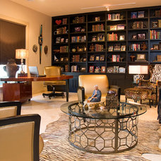 Transitional Home Office by Decorating Den Interiors- Corporate Headquarters