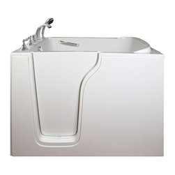 Creative Bathrooms - E-Series Dual Massage 55 in. x 35 in. Walk In Tub in White with Left Drain - The E-Series 55 in. x 35 in. (E3555) Dual Massage  Walk In Tub is the most affordable walk in tub featuring an easy-to-clean high gloss triple gel coat tub shell for excellent color uniformity. Stainless steel frame with adjustable feet and has a 6.5 in. threshold for easy entry. ADA Compliant with components of 17 in. seat height, textured floor and a built-in grab bar. The E3555D dual massage tub comes standard with eighteen (18) therapeutic air massage jets; six (6) adjustable direction hydrotherapy jets, both with pneumatic on/off push controls; and features an in-line water heater (1.5W). Includes a five (5) piece roman faucet in chrome with hand held shower unit.  The Ella E3555 has soaking, air massage or dual massage options and right or left drain location. Size: 45 in. width x 55 in. length x 35 in. height. Limited Three (3) Year warranty on tub components. For more product information, please call 1.800.480.6850.