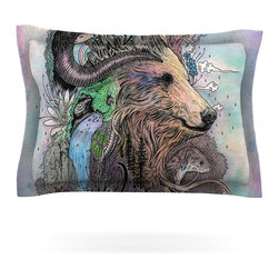 """Kess InHouse - Mat Miller """"Forest Warden"""" Bear Nature Pillow Sham (Cotton, 30"""" x 20"""") - Pairing your already chic duvet cover with playful pillow shams is the perfect way to tie your bedroom together. There are endless possibilities to feed your artistic palette with these imaginative pillow shams. It will looks so elegant you won't want ruin the masterpiece you have created when you go to bed. Not only are these pillow shams nice to look at they are also made from a high quality cotton blend. They are so soft that they will elevate your sleep up to level that is beyond Cloud 9. We always print our goods with the highest quality printing process in order to maintain the integrity of the art that you are adeptly displaying. This means that you won't have to worry about your art fading or your sham loosing it's freshness."""