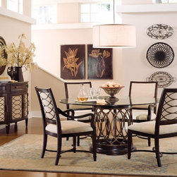 ART Furniture - Intrigue Round Glass Top Dining Room Set - ART-161224-ROOM - Set Includes Table and 4 Wood Back Side Chairs
