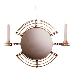 Handmade by artist - Mirror candelabra - Everyone looks better by candlelight. That's why your guests will love checking their hair or makeup in this mirror. Handmade by artist Joseph Tubman, the steel and a brass design is graceful, while the candlelight glow adds romance to your decor.