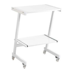 Eurostyle - Eurostyle Luigi Laptop Cart in White & Pure White Glass Top - Laptop Cart in White & Pure White Glass Top belongs to Luigi Collection by Eurostyle The Luigi Laptop Cart provides a versatile, portable workspace great for at home or in the office. Set on casters this desk can easily be moved about the room. Save space in style with the sleek and durable Luigi Laptop Cart. This contemporary laptop stand is a perfect choice for your home office. The laptop desk features a slim yet sturdy powder coated steel frame, safety glass top and shelf, and 4 casters (2 of which lock) for mobility. The piece complements your contemporary furniture and fits well in any room. It is convenient, compact and easy to assemble. Laptop Cart (1)
