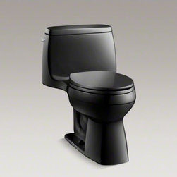 KOHLER - KOHLER Santa Rosa(TM) one-piece compact elongated 1.6 gpf toilet with Ingenium(R - This Santa Rosa toilet offers the style of a one-piece design and a powerful, high-performance capacity of 1.6 gallons per flush. The compact elongated bowl provides comfort while saving space.