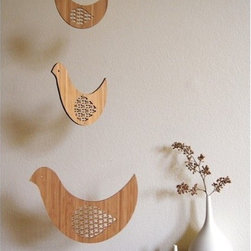 Bamboo Mobile, Bird Trio by Petit Collage - I'm imagining this simple, laser-cut mobile hanging over a craft or workspace.