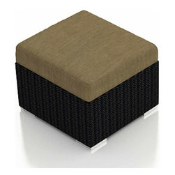 Harmonia Living - Urbana Modern Wicker Ottoman, Heather Beige Cushion - A multipurpose outdoor wicker ottoman is a terrific addition to any patio furniture set. Rust-proof, easy to clean and fade and mildew resistant, the lightweight footstool will be the center of any outdoor gathering. Rest your feet, park a tray or use it to primp your boxed plantings, kids also love to sprawl out on these modern movable hassocks!