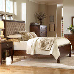 "Martin Home Furnishings - Bedford Panel Bed - Features: -Bedford collection. -Adjustable foot support for each slat. -Easy to attach rails. -Designed for use with a box spring. Dimensions: -California King Footboard: 22"" H x 77.75"" W x 3.38"" D, 88 lbs. -California King Headboard: 60"" H x 77.75"" W x 5.13"" D, 205 lbs. -California King Side Rails: 8"" H x 86"" W x 1"" D, 75 lbs."