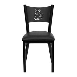 Flash Furniture - Flash Furniture Hercules Series Coffee Back Metal Chair in Black - Flash Furniture - Dining Chairs - XUDG60099COFBLKVGG - Provide your customers with the ultimate dining experience by offering great food service and attractive furnishings. This heavy duty commercial metal chair is ideal for Restaurants Hotels Bars Lounges and in the Home. Whether you are setting up a new facility or in need of a upgrade this attractive chair will complement any environment. This metal chair is lightweight and will make it easy to move around. For added comfort this chair is comfortably padded in vinyl upholstery. This easy to clean chair will complement any environment to fill the void in your decor. [XU-DG-60099-COF-BLKV-GG]