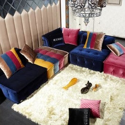 Colorful Sofas - Contemporary Fabric Sectional Sofa