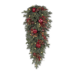 """Balsam Hill - 36"""" Balsam Hill® Heritage Spice Artificial Christmas Teardrop - Hang our Heritage Spice artificial Christmas teardrop anywhere in your home and experience satisfaction at seeing your home become more beautiful over the holidays. Pine cones, berries, apples, cinnamon sticks, and pomegranates are tastefully woven into the teardrop and bring the rustic charm of a bountiful countryside harvest. The centerpiece comes w/ professionally pre-wired UL®-approved clear lights that stay lit even if a bulb burns out and give your centerpiece a warm, cozy glow. Our hand-crafted teardrops have been featured on TV shows such as """"Ellen"""" and """"The Today Show"""" and are a recipient of the Good Housekeeping Seal of Approval. Balsam Hill teardrops look beautiful, are made of flame-retardant and non-allergenic materials, and are covered by our popular 5-year foliage warranty. Free shipping when you buy today!"""