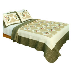 Blancho Bedding - Serenade To Spring 100% Cotton 3PC Patchwork Quilt Set  Full/Queen Size - The [Serenade To Spring] Quilt Set (Full/Queen Size) includes a quilt and two quilted shams. Shell and fill are 100% cotton. For convenience, all bedding components are machine washable on cold in the gentle cycle and can be dried on low heat and will last you years. Intricate vermicelli quilting provides a rich surface texture. This vermicelli-quilted quilt set will refresh your bedroom decor instantly, create a cozy and inviting atmosphere and is sure to transform the look of your bedroom or guest room. Dimensions: Full/Queen quilt: 90 inches x 98 inches; Standard sham: 20 inches x 26 inches.