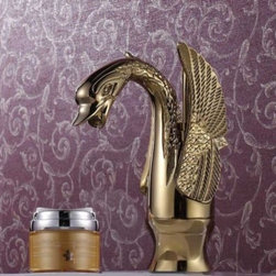 JollyHome - JollyHome Chic Swan Single Hole Bathroom Faucets Gold - Complete parts and all install fittings are included.Water pressure tested for industry standard.Easy to keep clean and maintain.Ceramic valve core