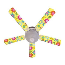 Ceiling Fan Designers Flower Power Butterflies Indoor Ceiling Fan - Yellow - Any girl would love the Ceiling Fan Designers Flower Power Butterflies Indoor Ceiling Fan - Yellow. Perfect for her room, this super colorful ceiling fan is loaded with flowers, butterflies, and fun. It's well-designed to cool down and light up her space in style. It comes in your choice of size: 42-inch with 4 blades or 52-inch with 5. The blades are reversible so if she ever gets tired of the colorful design simply flip it to soft white. Twice the look! It has a powerful yet quiet 120-volt, 3-speed motor with easy switch for year-round comfort. The 42-inch fan includes a schoolhouse-style white glass shade and requires one 60-watt candelabra bulb (not included). The 52-inch fan has three alabaster glass shades and requires three 60-watt candelabra bulbs (included). Your ceiling fan includes a 15- to 30-year manufacturer's warranty (based on size). Flower power!