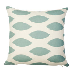 5 Surry Lane - Blue Ikat Dot Geometric Pillow - Brighten up the scene with this fun, cheery pillow.  It will add an energetic, playful vibe to virtually any space.  Arrange a few together to create the most sought after seating in the house.  Same fabric front and back.  Down feather insert included.  Hidden zipper closure.  Made in the USA.