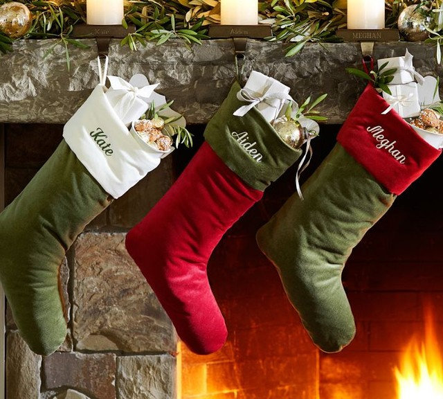Traditional Christmas Stockings And Holders by Pottery Barn