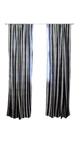 """Ichcha - Charcoal Stripe Window Curtain, 96"""" - The Panels are hand block printed and colored with natural dyes! The Stripes have a handmade feel to them with their mud resist printing technique. They can also be paired with toiled to create a unique setting in your home."""