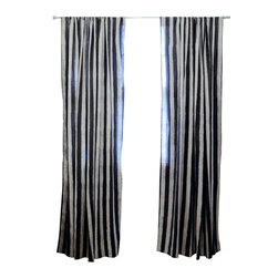 "Ichcha - Charcoal Stripe Window Curtain, 96"" - The Panels are hand block printed and colored with natural dyes! The Stripes have a handmade feel to them with their mud resist printing technique. They can also be paired with toiled to create a unique setting in your home."