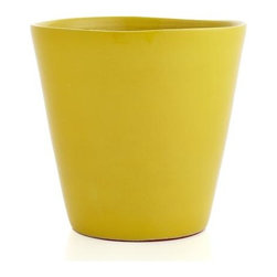Festive Large Yellow Planter - Pepper your patio with our zesty terra cotta planters decked out in festive brights.